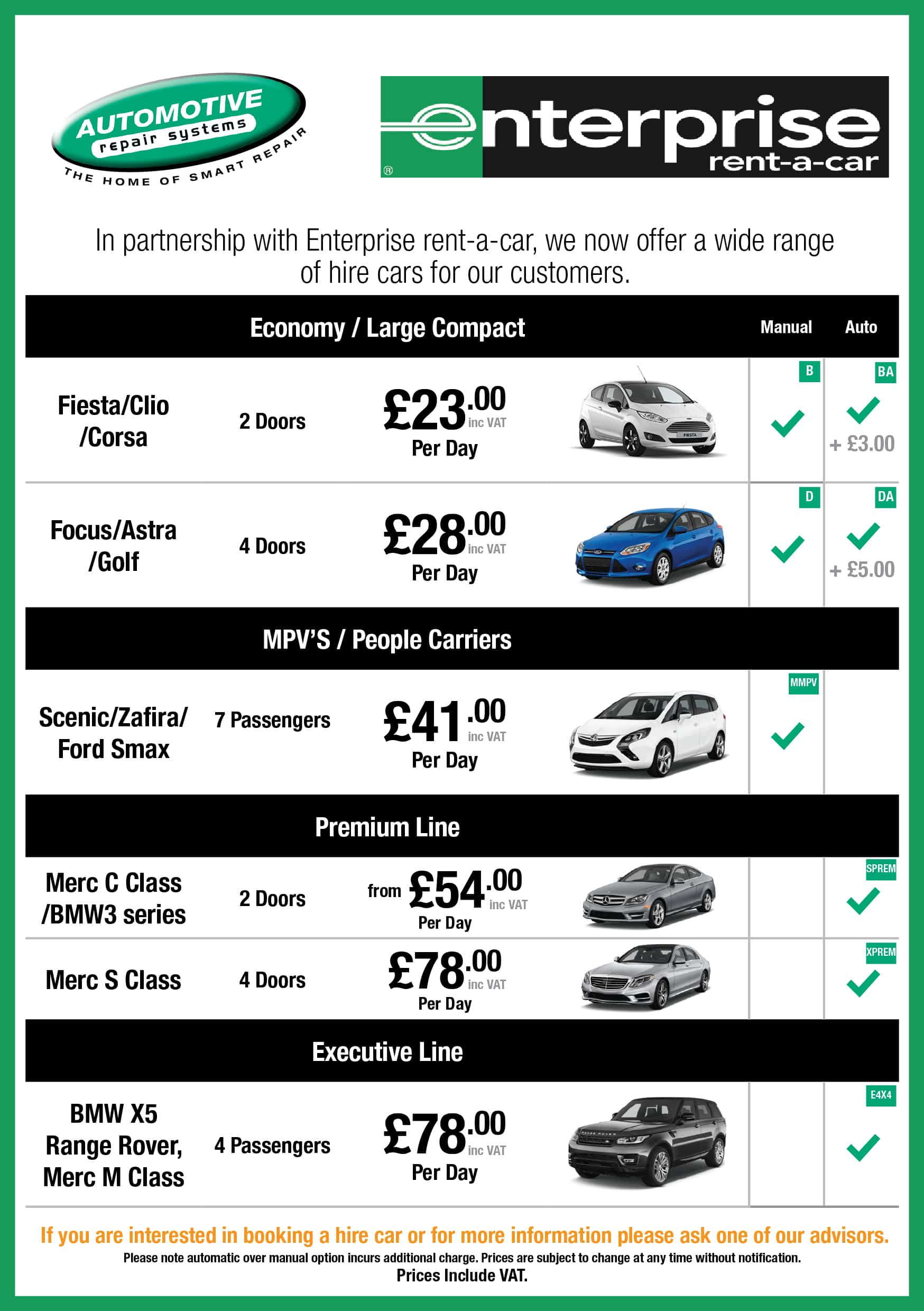 hire car pricelist