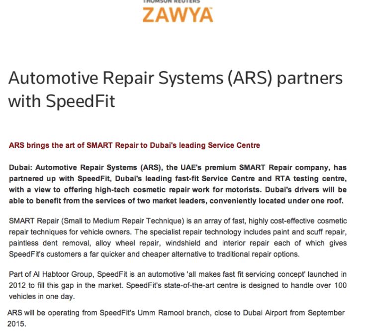 Another great UAE editorial on our services and partnership with Speedfit!
